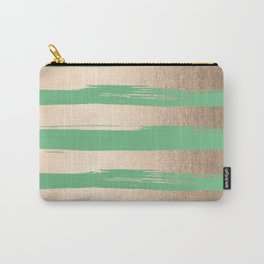 Painted Stripes Gold Tropical Green Carry-All Pouch