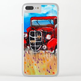 Uncle John's Old Truck Grandpa Red Work Truck Vintage Antique Farm Ranch Farmer Rancher Field Clear iPhone Case