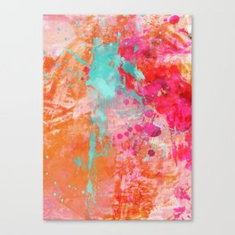 Paint Splatter Turquoise Orange And Pink Canvas Print