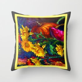 Sunflowers & fruit Fall Still Life Painting Throw Pillow