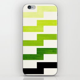 Minimalist Mid Century Modern Sap Green Watercolor Painting Lightning Bolt Zig Zag Pattern With Blac iPhone Skin