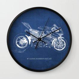 #7 Glenn Hansen's Bike, motogp,original custom drawing Wall Clock
