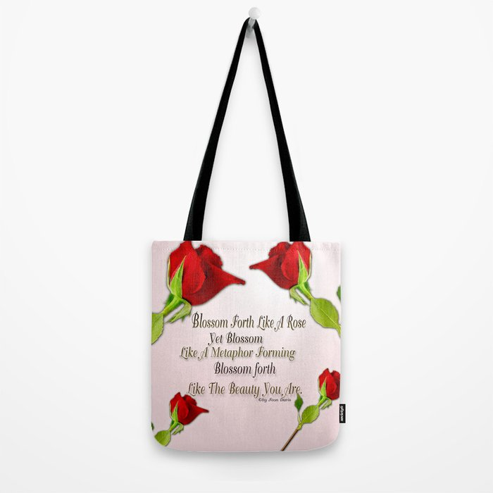 Red, Rose And pink With Quote Tote Bag