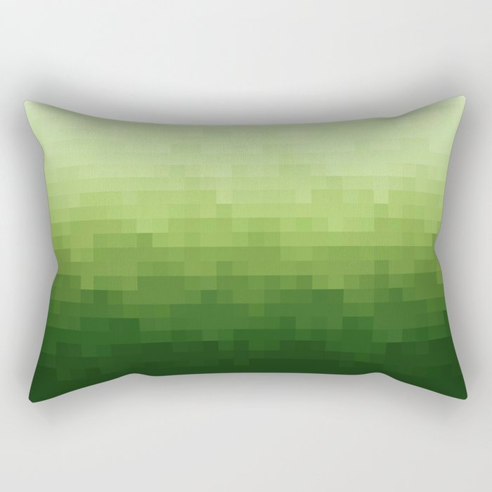 Gradient Pixel Green Rectangular Pillow
