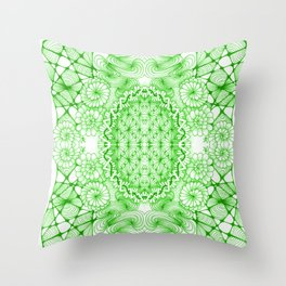 Green Zentangle Tile Doodle Design Throw Pillow