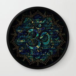 Namaste Word Art in Lotus with OM symbol Wall Clock