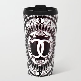 Designer Fashion Black and White Floral High-End Couture Mandala Travel Mug