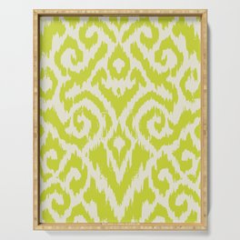 Chartreuse Ikat classic mid century Serving Tray
