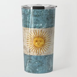 Vintage Aged and Scratched Argentine Flag Travel Mug