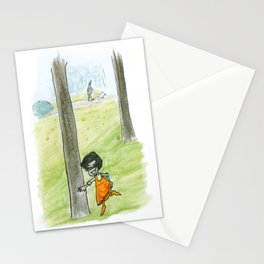The little girlg in orange. Dancing with a tree. Stationery Cards