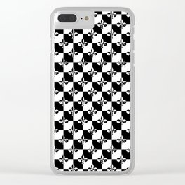 Black and White Checkerboard Checked Squares with French Fleur de Lis Clear iPhone Case