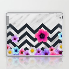 Chevron Pattern with Marble and Flowers Laptop & iPad Skin
