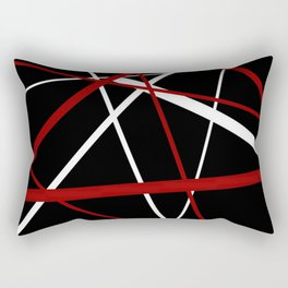 Red and White Stripes on A Black Background Rectangular Pillow