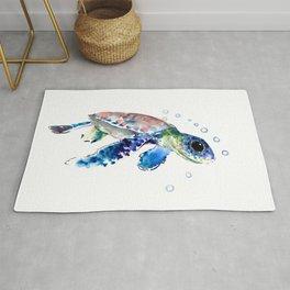 Sea Turtle Illustration Rug