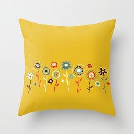 doodle flowers Throw Pillow