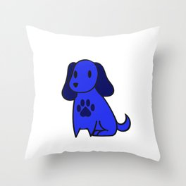 The Blue Dog With Paw Print Throw Pillow