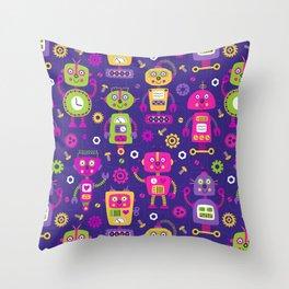 Pink Purple Girl Robot Pattern Throw Pillow