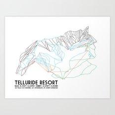 Telluride, CO - Minimalist Trail Maps Art Print