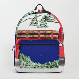 Old Red Farm Truck Winter Backpack