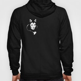 Faces - foxy lady Marlene on a teal wavey background Hoody