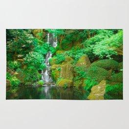 Fountain and pond in Japanese Zen Garden Rug