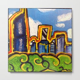 Brisbane City Landscape Painting - View from Kangaroo Point Metal Print