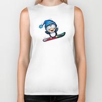 snowboarding Biker Tanks featuring Too Cool to Penguin by Schwebewesen • Romina Lutz