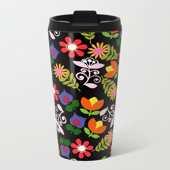 70s Flowers Metal Travel Mug