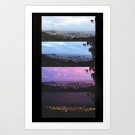 New York Skyline Portrait Time Frames Art Print