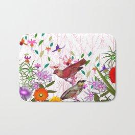 Colorful pink purple floral bird illustration Bath Mat