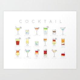 Cocktails flat menu horisontal white Art Print