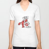 lobster V-neck T-shirts featuring Lobster by Barbo's Art