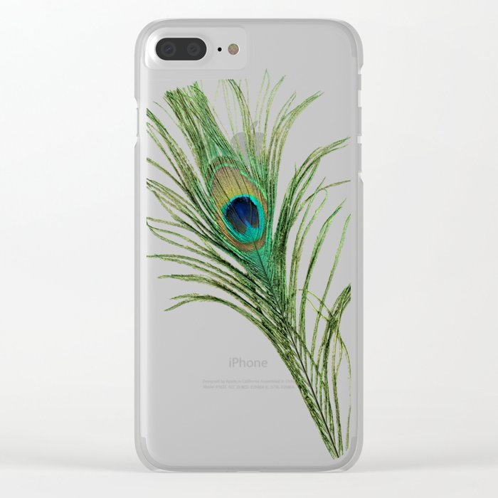 Peacock Feather on Blue Background Clear iPhone Case