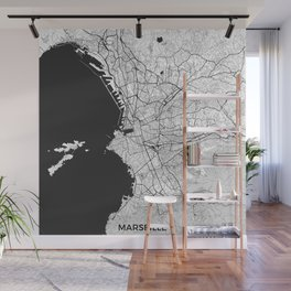 Marseille Map Gray Wall Mural