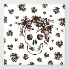 Flower Skull, Floral Skull, Pink Flowers on Human Skull Canvas Print