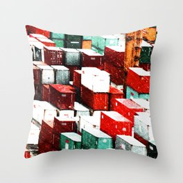 Mint Red Shipping Containers  Throw Pillow