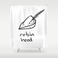 robin hood Shower Curtains featuring Robin Hood by Isaac Collmer