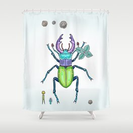 Happy Stag Beetle Shower Curtain