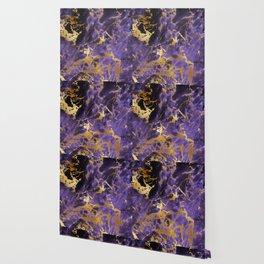 Ultra Violet Gold Marble Metallic Foil Wallpaper