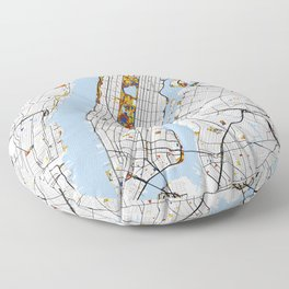 New York City Map United States Mondrian color Floor Pillow