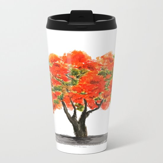 flame of the forest tree Metal Travel Mug