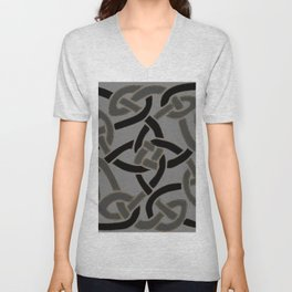 Charcoal Grey Color Celtic Art Unisex V-Neck