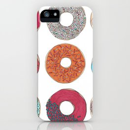 Colourful, illustrated, glazed, sprinkle Donut pattern iPhone Case