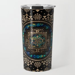 Sri Yantra  / Sri Chakra Marble and Gold Travel Mug