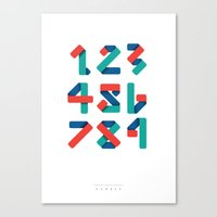 number Canvas Prints featuring Number by Steven Toang