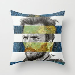 Van Gogh's Self Portrait & Clint Eastwood Throw Pillow