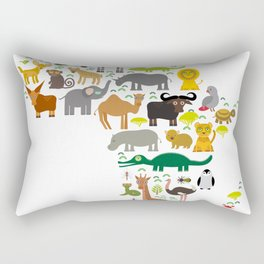 map of Africa: parrot Hyena Rhinoceros Zebra Hippopotamus Crocodile Turtle Elephant Mamba snake Rectangular Pillow