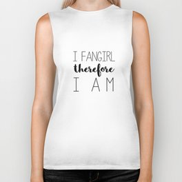 i fangirl therefore i am // white Biker Tank