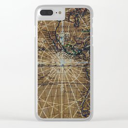 Vintage Old World Abstract Map Clear iPhone Case