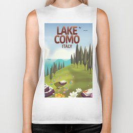 Lake Como Italy travel poster Biker Tank